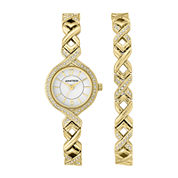 Armitron® Womens Gold Crystal Accent Watch and Bracelet Set