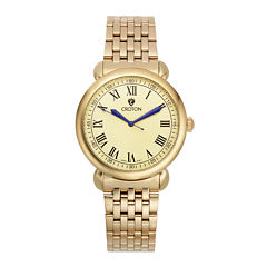 Croton Mens Gold-Tone Stainless Steel Watch