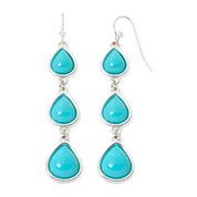 Liz Claiborne® Silver-Tone Aqua Linear Earrings