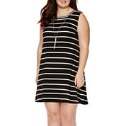 by&by Sleeveless Striped Knit A-Line Dress - Juniors Plus