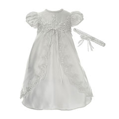Keepsake® Short-Sleeve Christening Dress and Headbamd - Baby Girls newborn-12m