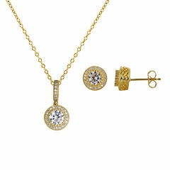 Womens 3-pc. 3 1/2 CT. T.W White Cubic Zirconia 14K Gold Over Silver Jewelry Set