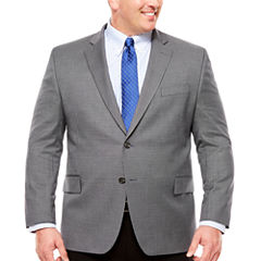 Stafford Year-Round Gray Navy Houndstooth Sport Coat-Big and Tall