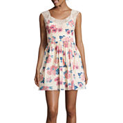City Triangles® Sleeveless Floral-Print Poplin Dress- Juniors