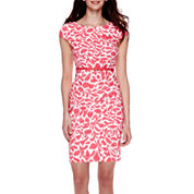 Alyx® Short-Sleeve Smudge Floral Belted Sheath Dress - Petite