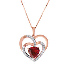 Lab-Created Ruby and White Sapphire Triple-Heart Pendant Necklace