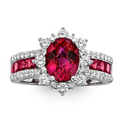 Lab-Created Ruby & White Sapphire Sterling Silver Starburst Cocktail Ring