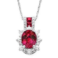 Lab-Created Ruby and White Sapphire Sterling Silver Starburst Pendant Necklace