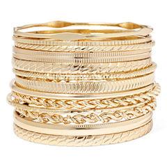 Liz Claiborne® Gold-Tone Textured Bangle Set
