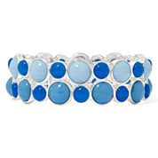 Liz Claiborne® Blue Stone Silver-Tone Two-Row Stretch Bracelet