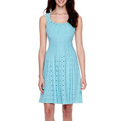 London Style Collection Cap-Sleeve Pleated Fit-and-Flare Dress - Petite