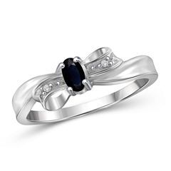 Womens Diamond Accent Oval Blue Sapphire Sterling Silver Engagement Ring