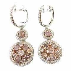 3 CT. T.W. Pink Diamond 18K Gold Drop Earrings