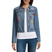 Almost Famous Patched Denim Jacket-Juniors