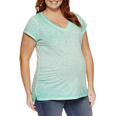 a.n.a Short Sleeve V Neck T-Shirt-Womens Plus Maternity