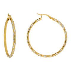 Textured Hoop Earrings 14K Gold Over Sterling Silver