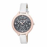 Laura Ashley Geo Print Womens White Strap Watch-LA31023WT