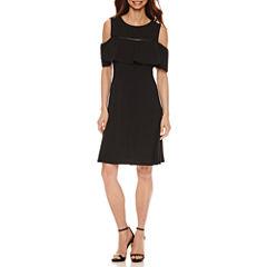 Alyx Short Sleeve Cold Shoulder A-Line Dress
