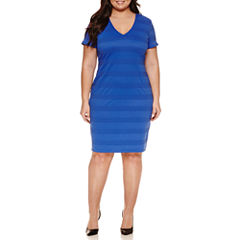 Bisou Bisou Short Sleeve Sheath Dress-Plus