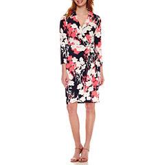 Liz Claiborne 3/4 Sleeve Pattern Wrap Dress