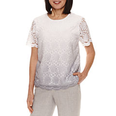 Alfred Dunner Short Sleeve Pullover Sweater