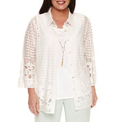 Alfred Dunner 3/4 Sleeve Layered Top Plus