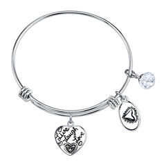 Footnotes Too® Stainless Steel Live Laugh Love Heart Charm Bangle