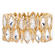 Monet® Crystal and Gold-Tone Double-Row Stretch Bracelet