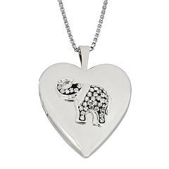 Heart Crystal Sterling Silver Elephant Locket Pendant Necklace