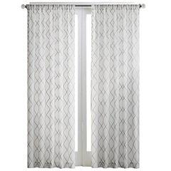 Madison Park Iris Diamond Sheer Rod-Pocket Curtain Panel