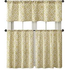 Madison Park Ella Diamond-Printed Rod-Pocket Kitchen Window Tiers