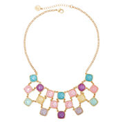 Liz Claiborne® Multicolor Stone Gold-Tone Bib Necklace
