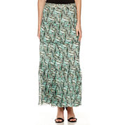 Black Label by Evan-Picone Print Tiered Maxi Skirt