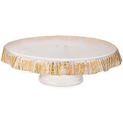 Footed Cake Plate with Gold-Scalloped Detail