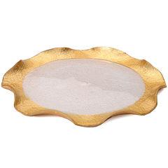 Wavy Gold-Edge Set of 4 Glass Plates