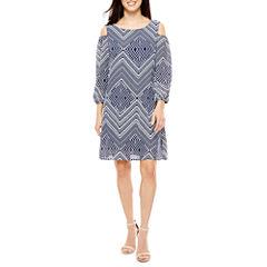 Luxology Cold Shoulder Sleeve A-Line Dress