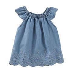 Oshkosh Chambray Cap Sleeve Top-Baby Girls