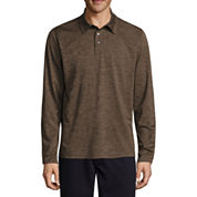 St. John`s Bay Long Sleeve Solid Performance Polo Shirt