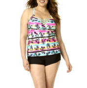Arizona Tropical Tankini Swim Top or Shirred Swim Boyshorts - Juniors Plus