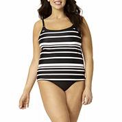 St. John's Bay® Striped Camikini Swim Top or Swim Bottoms - Plus