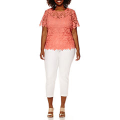 Liz Claiborne® Short-Sleeve Layered Lace Top or Millennium Stretch Ankle Pants