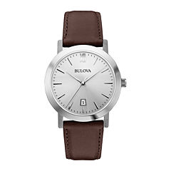 Bulova® Mens Silver-Tone Round Leather Strap Watch 96B217