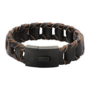 Mens Fold Braided Brown Leather Bracelet
