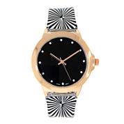Womens Rose Gold-Tone Stripe Strap Watch