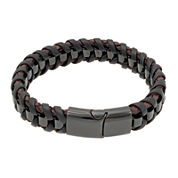 Mens Braided Leather Bracelet with Black Stainless Steel Magnetic Clasp