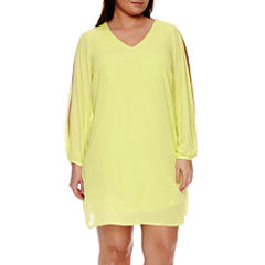 Worthington® Long-Sleeve Cold-Shoulder Shift Dress - Plus