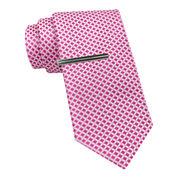 JF J. Ferrar® Geo Print Tie and Tie Bar Set - Slim