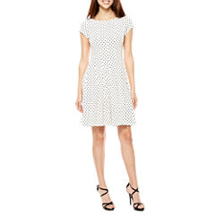 Danny & Nicole Short Sleeve Fit & Flare Dress