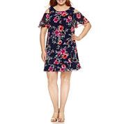 R & K Originals Short Sleeve Cold Shoulder Floral Sheath Dress-Plus