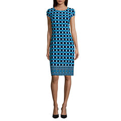 Liz Claiborne Short Sleeve Pattern Shift Dress